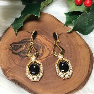 Avon Ebony Stone & Crystal Pierced Earrings